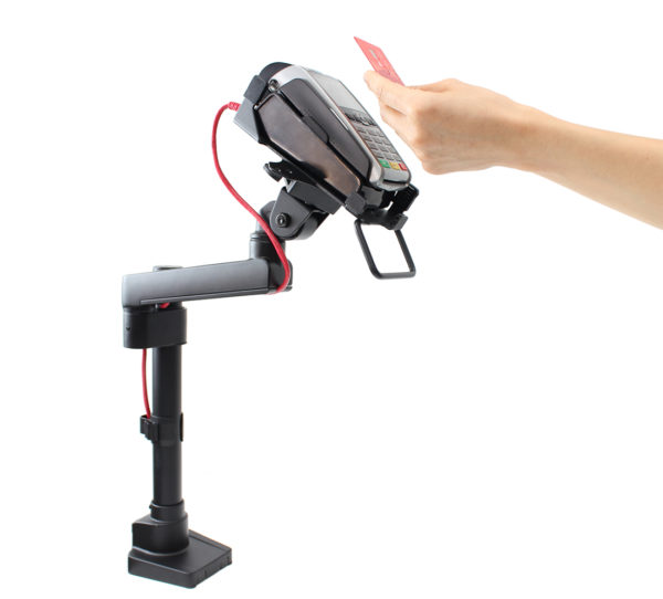 PosFlex Static Single Arm and EFTPOS Cradle back with device