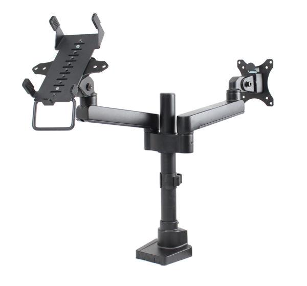 PosFlex Dual Static Arm with VESA and cradle angle 2
