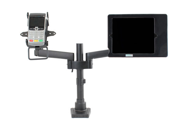 PosFlex Dual Static Arm with cradle and Secure ipad holder