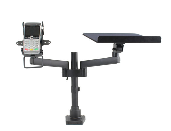 PosFlex Dual Static Arm with laptop tray and cradle front