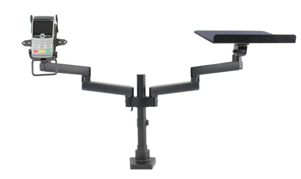 PosFlex Dual Static Arm with laptop tray and cradle front with extended arms