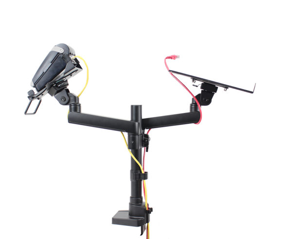 PosFlex Dual Static Arm with laptop tray and cradle side