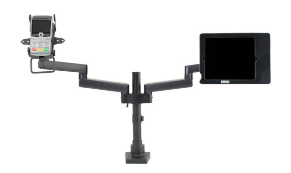PosFlex Dual Static Arm with secure ipad and cradle front with extended arms