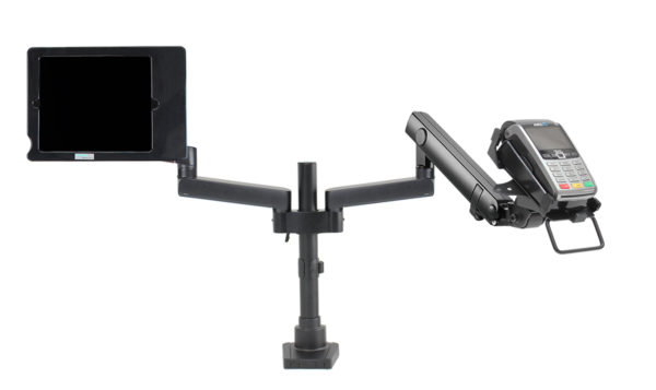 PosFlex dual Dynamic Arm, additional static arms secure ipad holder and cradle front