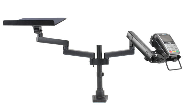 PosFlex dual Dynamic Arm, additional static arms tray and cradle front