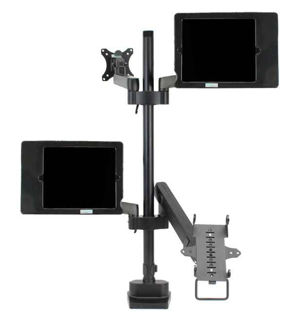 PosFlex quad 3 static arms with cradle, 2 laptop tray and VESA - side