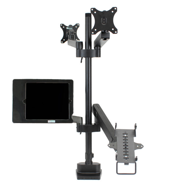 PosFlex quad 3 static and 1 dynamic arms, cradle,2 VESA and secure ipad holder front