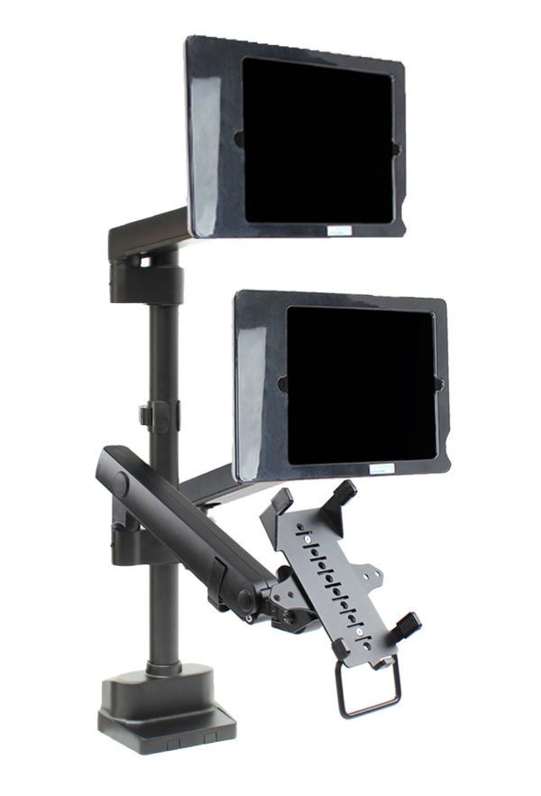 PosFlex triple 2 static and 1 dynamic arms, cradle and secure ipad holder angle