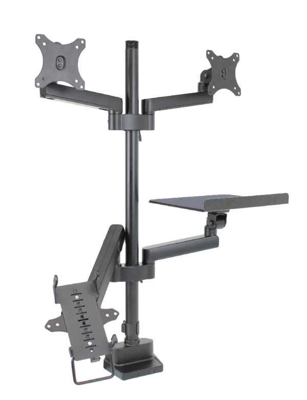 PosFlex triple 3 static and 1 dynamic arm with cradle, laptop tray and 2 VESA angle