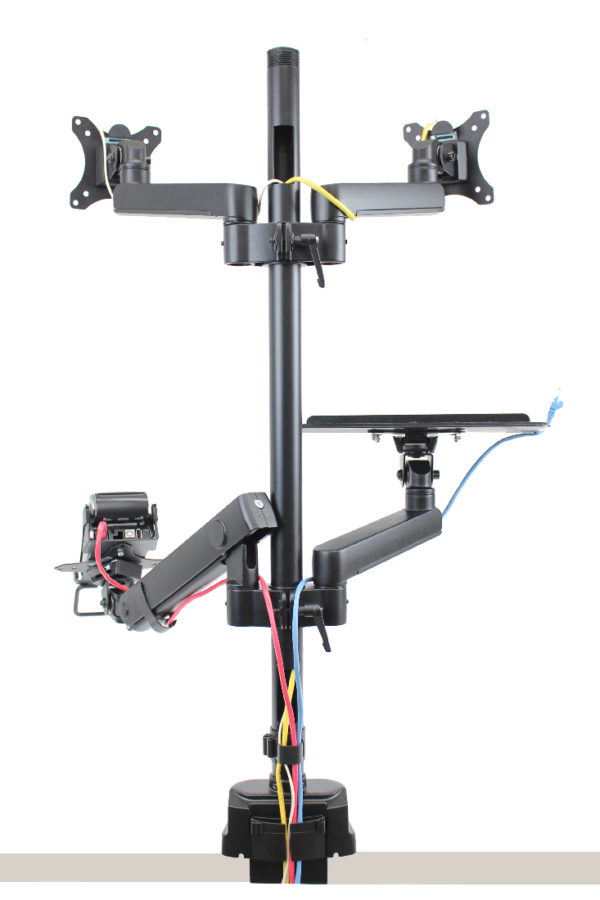 PosFlex triple 3 static and 1 dynamic arm with cradle, laptop tray and 2 VESA - cable managment