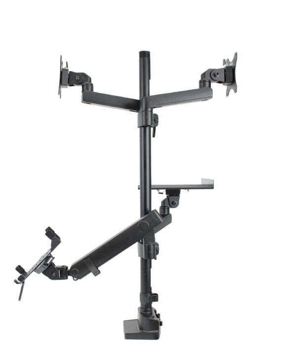 PosFlex triple 3 static and 1 dynamic arm with cradle, laptop tray and 2 VESA - side