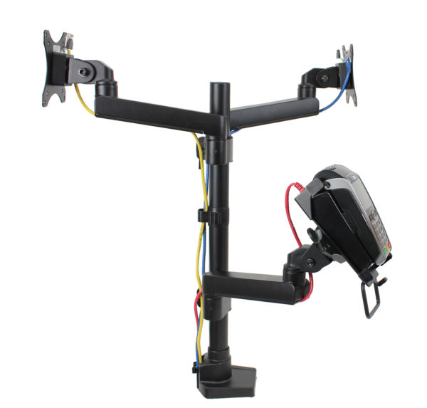 PosFlex triple 3 static arms, cradle and 2 VESA cable management