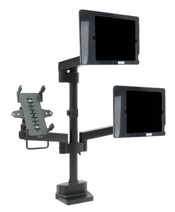 PosFlex triple 3 static arms, cradle and 2 secure ipad holder angle