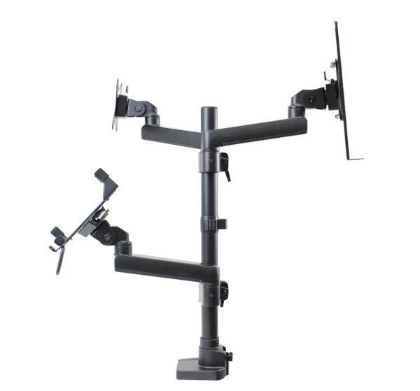 PosFlex triple 3 static arms, cradle, tray and secure ipad holder side