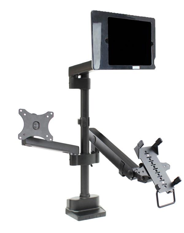 PosFlex triple 3 static, cradle, VESA and secure ipad holder angle