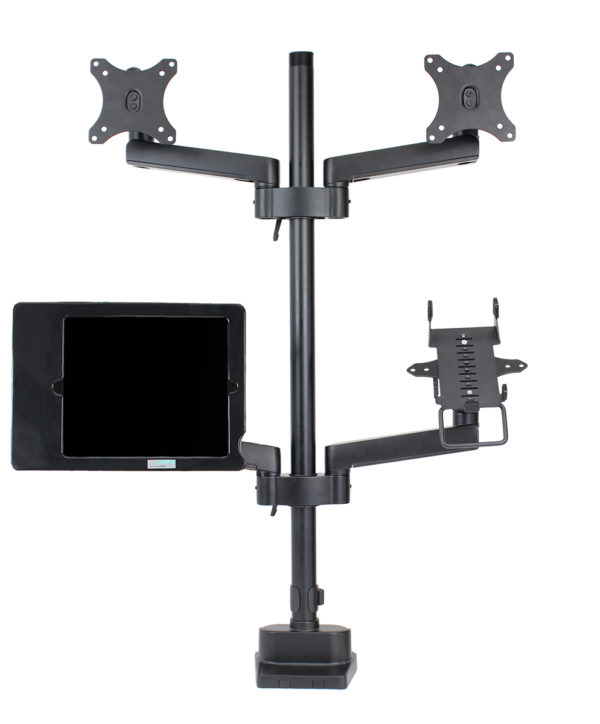 PosFlex triple 4 static arms with cradle, 2 VESA, secure ipad holder - front