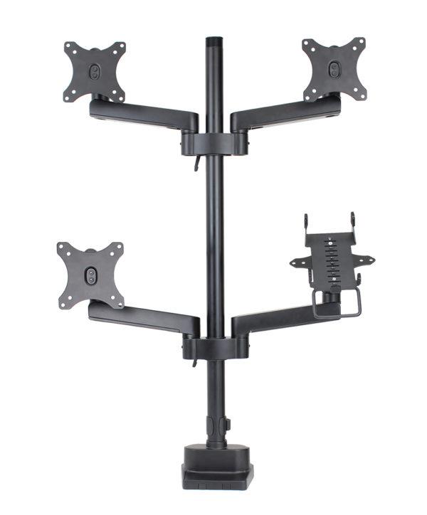 PosFlex triple 4 static arms with cradle, 3 VESA - front