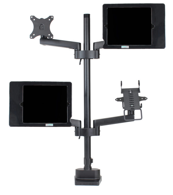 PosFlex triple 4 static arms with cradle, VESA, 2 secure ipad holders - front