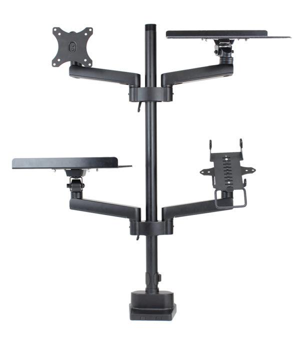 PosFlex triple 4 static arms with cradle, VESA, 2 trays - front