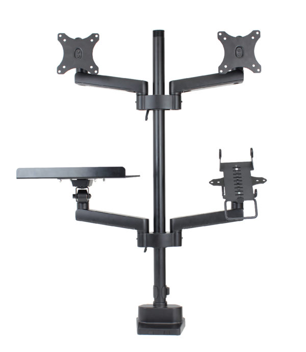 PosFlex triple 4 static arms with cradle, laptop tray and 2 VESA - front