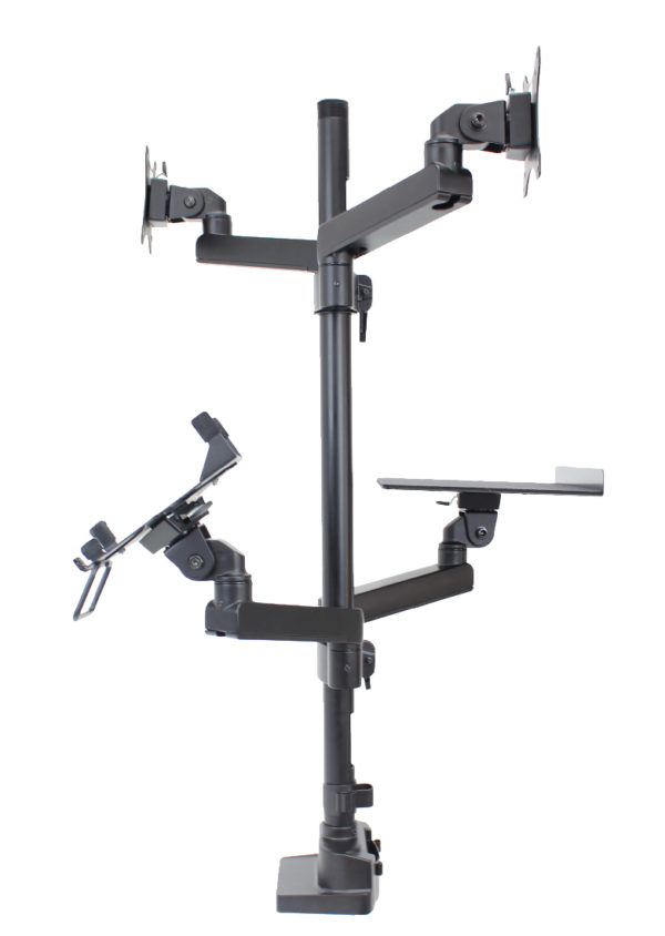 PosFlex triple 4 static arms with cradle, laptop tray and 2 VESA - side