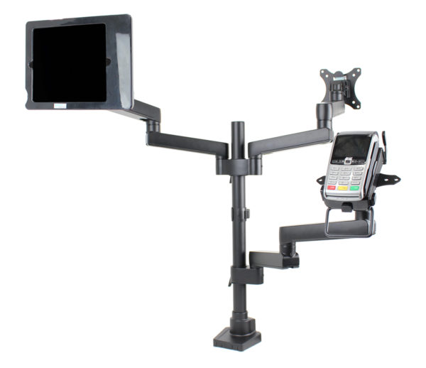 PosFlex triple 6 static arms, cradle, VESA and secure ipad holder angle