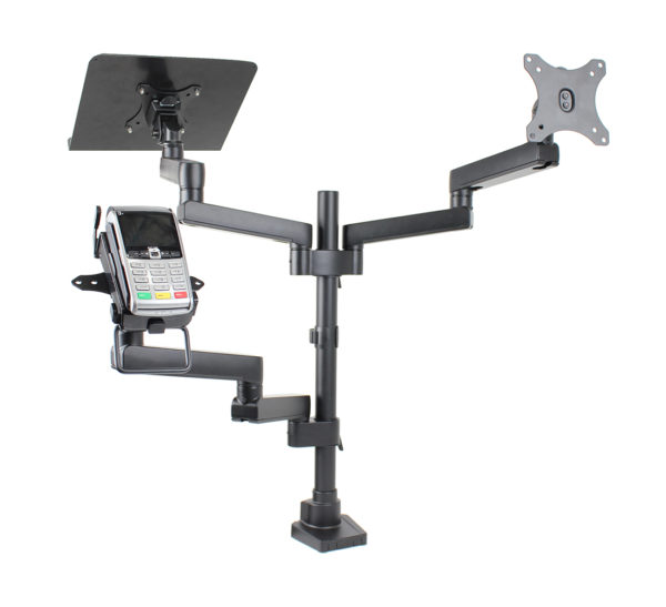 PosFlex triple 6 static arms, cradle, VESA, laptop tray angle